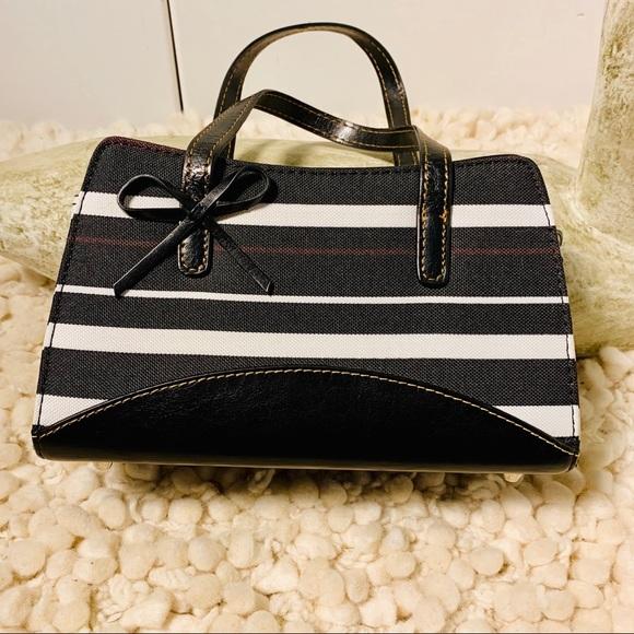 Handbags - Black white striped small polka dot interior EUC